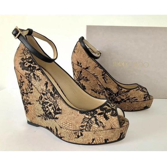 219a24818e Jimmy Choo Shoes | Pacific Lace Cork Wedge Sandals 41 | Poshmark